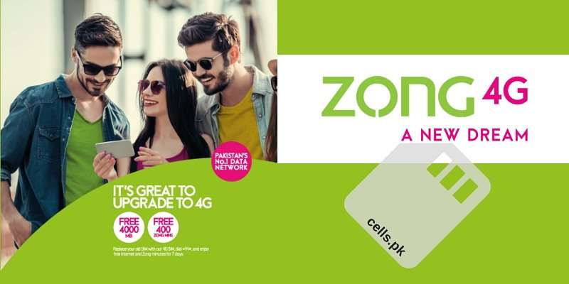 Zong 4G SIM Upgrade Offer Activation Code, Validity, Price and Status Check Code
