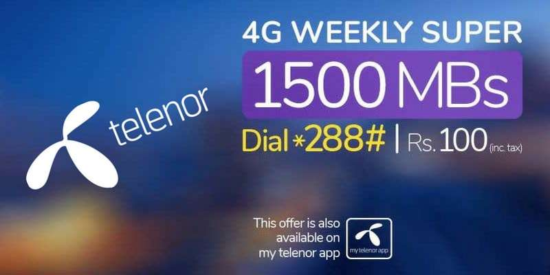 Telenor 4G Weekly Super Offer (Enjoy 1500 MB Internet for 7 Days in just Rs. 100)
