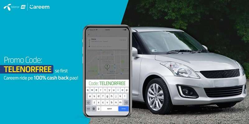 Telenor users can avail 100% Cashback on their 1st Careem Ride
