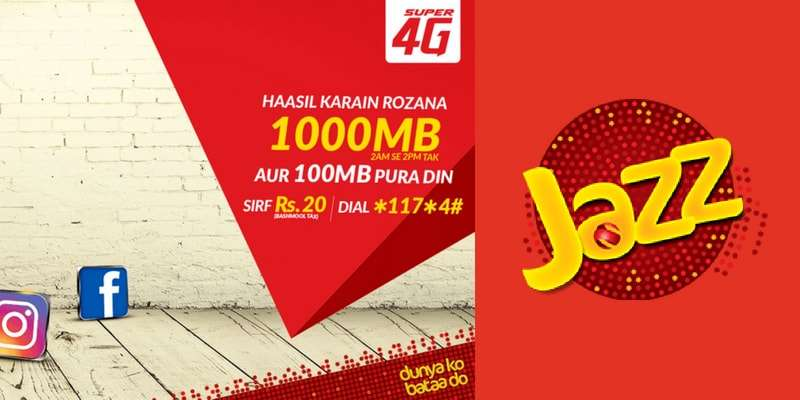 With Jazz Daily Internet Bundle (Peak – Off Peak) Enjoy up to 1GB data in just Rs. 20