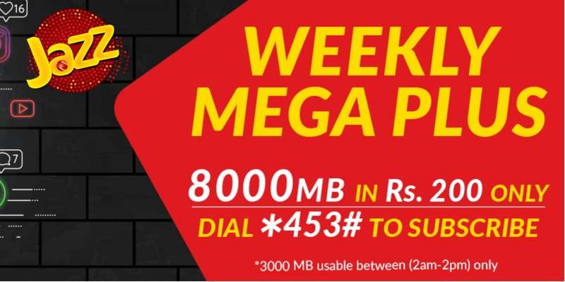 With Jazz Weekly Mega Plus Offer 2019 now Enjoy 8GB Internet in just Rs. 200 for 7 Days (Latest)
