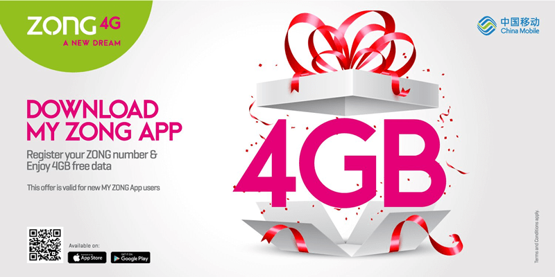 My Zong App Latest Version Offers 4GB FREE Internet Data