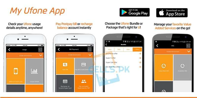 My Ufone App allow users to Pay Postpay Bill, Recharge Balance & Super Card load