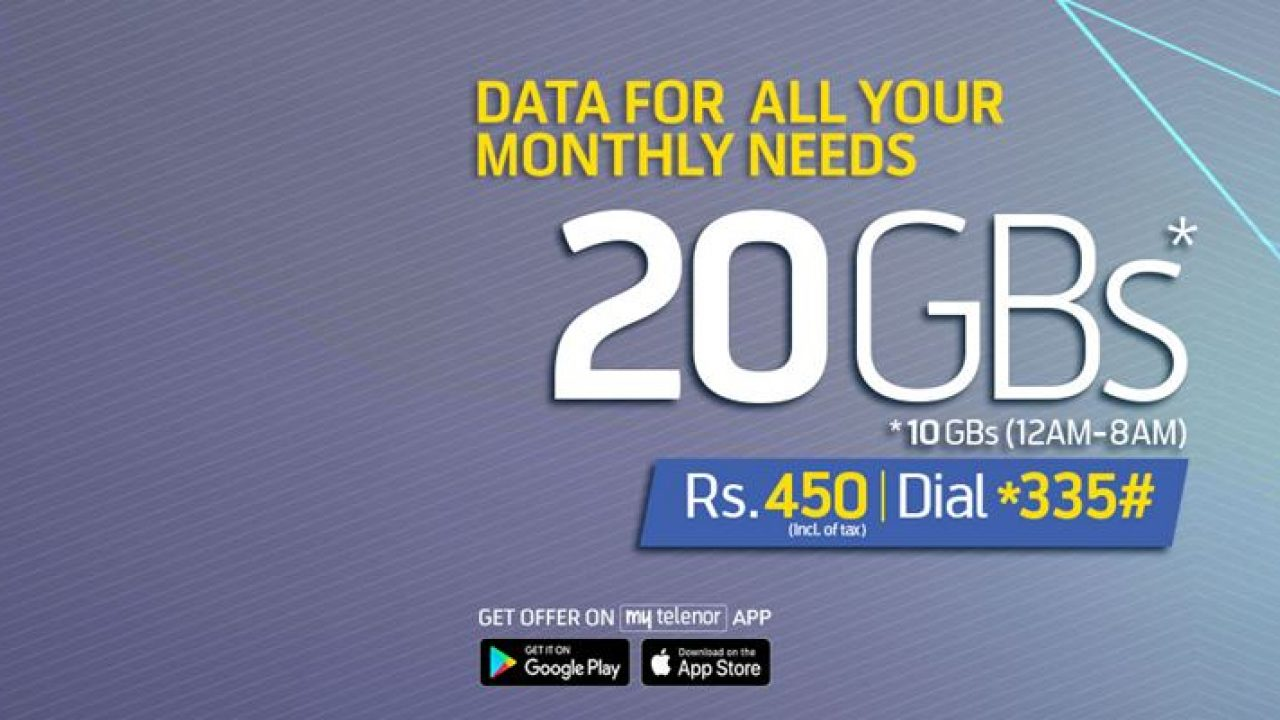 20GB Internet in Rs  450 with Telenor 4G Monthly Ultra Offer