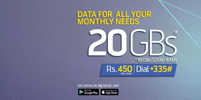 Telenor 4G Monthly Ultra Offer provides 20GB in Rs. 450