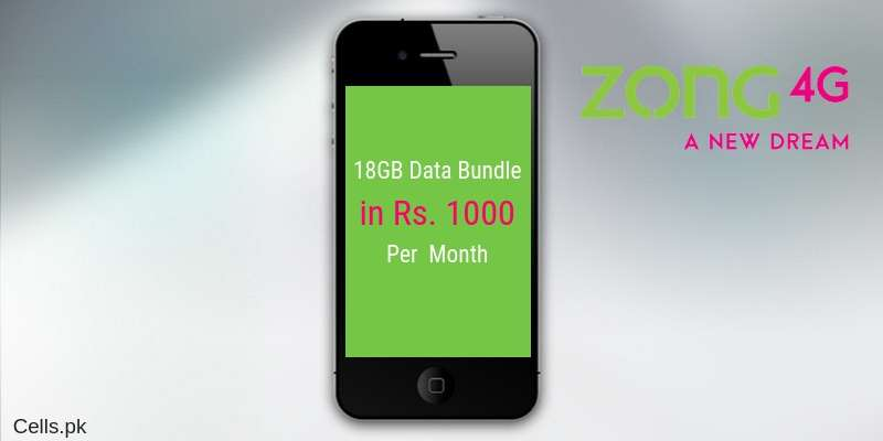 Enjoy Zong 18GB Data Bundle Offer on Internet SIM in just Rs. 1000 Per Month