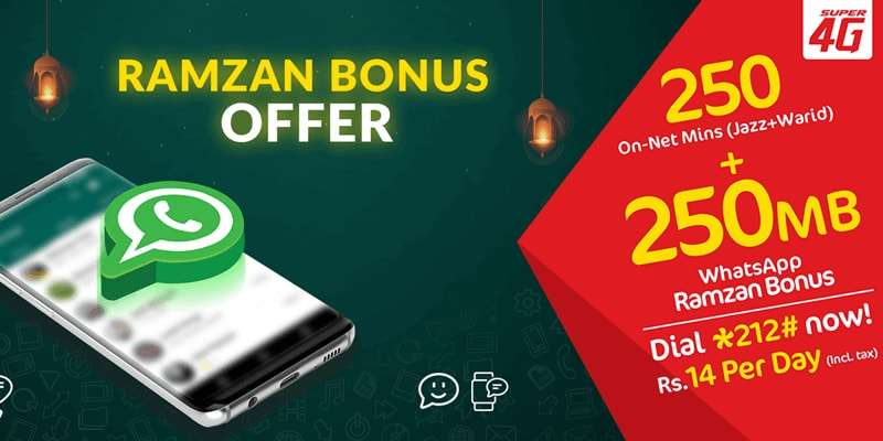 Mobilink Jazz Ramzan Bonus Offer for Wifi Device & Data SIM Users (Jazz Super Daily Offer)
