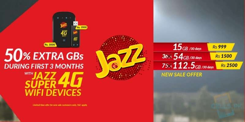 Get 50% Extra GBs on Purchasing New Jazz Super 4G Internet Devices (Wifi/Wingle) for 3 Months