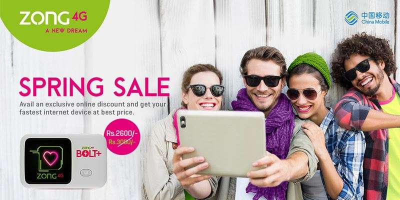 Now Save Rs.400 on Purchasing New Bolt+ Device in Zong 4G Spring Sale Offer