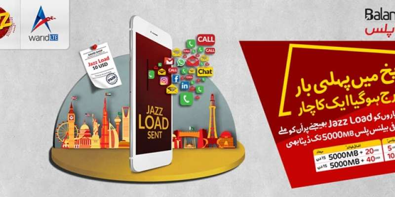 Jazz Balance Plus (Exclusive International Balance Offer upto 4X Bonus & 5000 MB Internet)