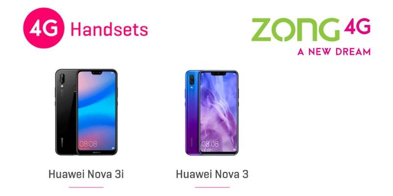 Zong users can get FREE Gift Packs & Bundles with every purchase of Huawei Nova 3 & Huawei Nova 3i (2018)
