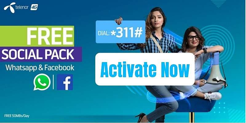 Telenor Social Pack provides FREE 50MB Internet for Daily usage in Rs. 0