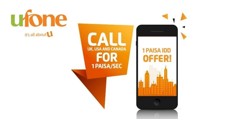 Ufone 1 Paisa IDD Offer & Ufone India, Bangladesh & Middle East Offer (International Direct Dialing Offers)