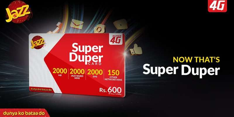 Jazz Super Duper Card provides Exciting Incentives in Rs. 600 for 30 Days for Prepaid and Postpaid Customers