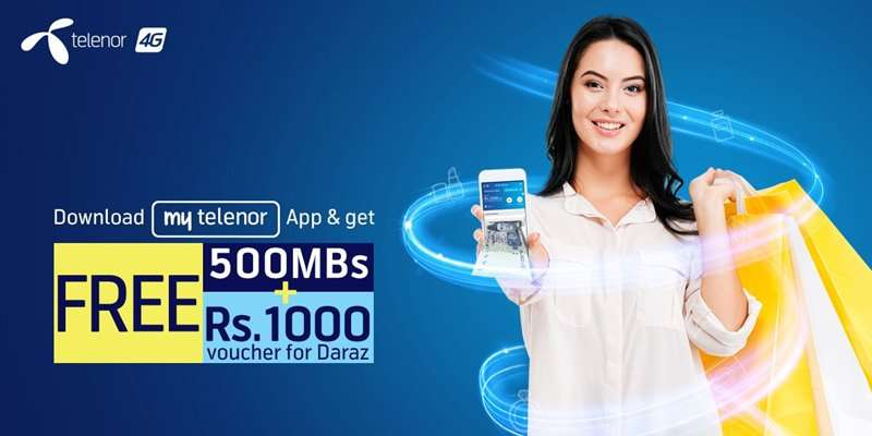 My Telenor App Offer provides FREE 500MBs & Daraz Voucher of Rs. 1000