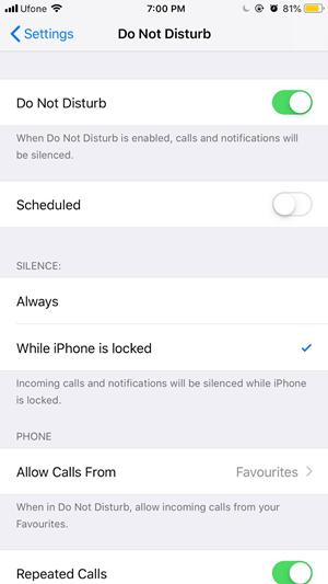 iOS Do Not disturb Mode