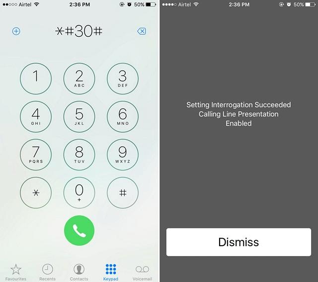 iPhone Calling Line Presentation