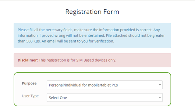 DIRBS Registration Step 02