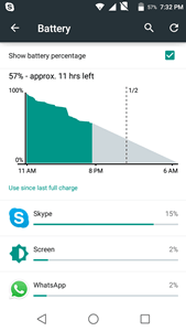 mobile phone battery settings